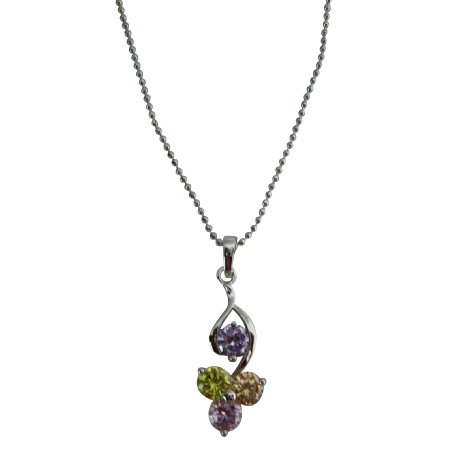 UNE324  Jewelry Multicolor Crystals Pendant Young Girls Necklace