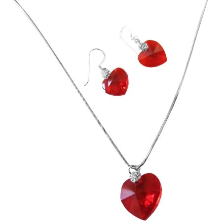 NSC518  Lite Swarovski Siam Red Crystals Heart & Earrings Genuine Swarovski Crystals Heart