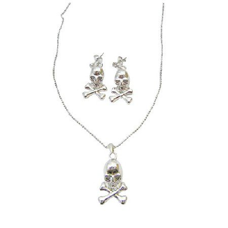 HH212  Skull Jewelry Set Pendant Necklace With Halloween Skull Jelwelry Necklace Set