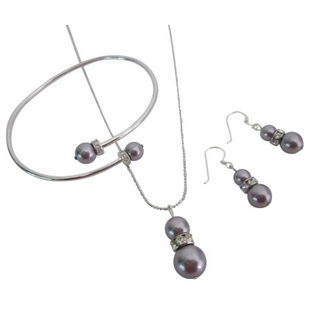BRD1090  Vibrant Color Very Beautiful Gift Cool Mauve Pearls Jewelry