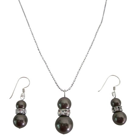 NSC806  Fine Jewelry Sterling Silver Earrings Brown Pearls Pendant Necklace
