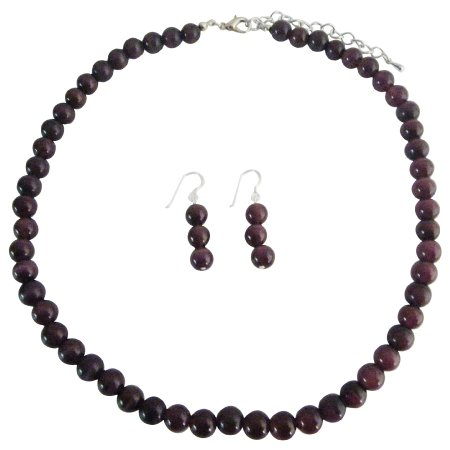 NS365  Handcrafted Genuine Purple Cat Eye 8mm Faceted Beads Necklace w/ Sterling Silver Earrings
