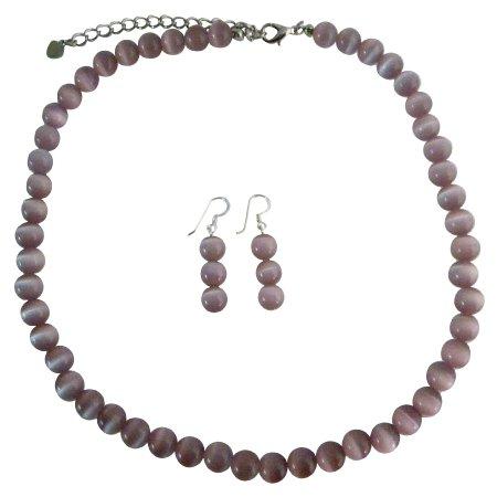 NS468  Purple Cats Eye Stone 6mm Bead Necklace Set w/ Sterling Silver Earrings