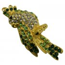 B575  Gorgeous Attractive Bird Brooch Peridot Crystals Sparkle Shine Brooch