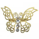 B585  Artistically Golden Butterfly Brooch Gift Jewelry