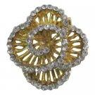 B608  Gold Swirl Brooch Rose Dazzling Brooch