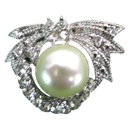 B607  Cute Round Brooch With Pearls At Center Purse Brooch