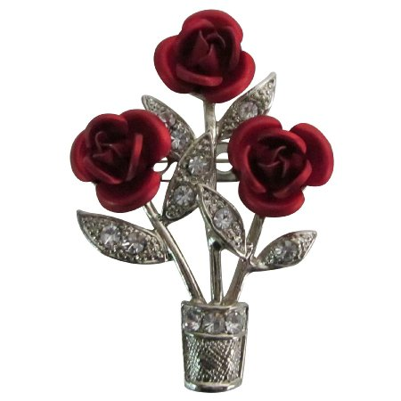 B597  Exotic Stunning Beautiful Red Roses Vase Brooch