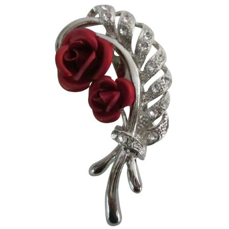 B596  Beautiful Bouquet Leaf Red Roses Fascinated Brooch
