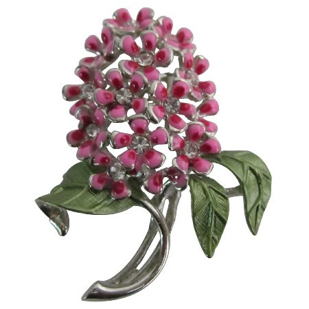 B603  Shop The Latest Pink Flower With Green Leaves Brooch