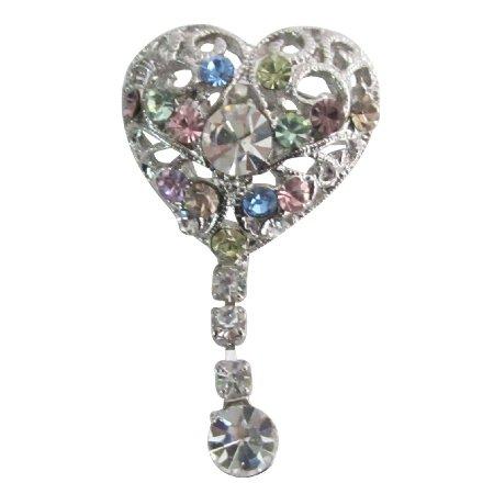 B609  Heart Shaped Brooch Multicolor Crystals Dangling Celebrity Brooch