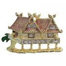 B592  Art House Brooch Pewter Painted House Brooch