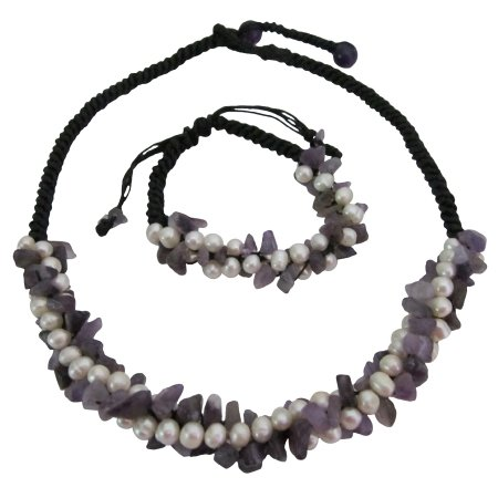 NS1071  Amethyst Nuggets Freshwater Pearls Cord Necklace & Bracelet Set