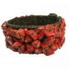 TB1000  Inexpensive Smart looking Cotton Rope Red Coral Wire Cuff