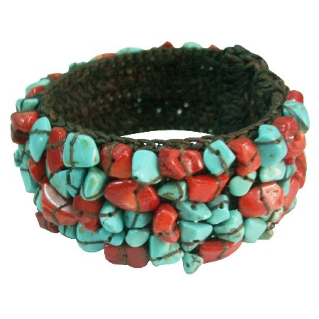 TB1004  Fun Wear Elegant stylish Gift Cuff Bracelet Turquoise And Coral Nuggets