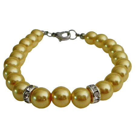 UBR262  Young girls Bracelets Cool Yellow Pearls