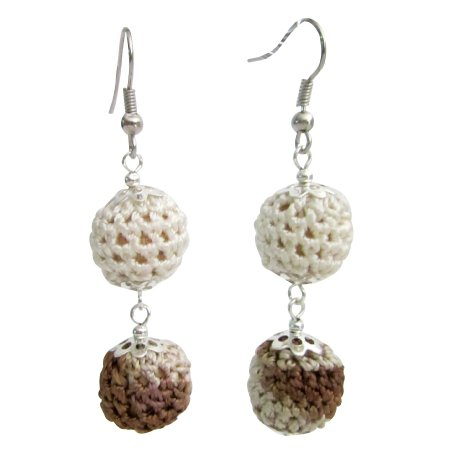 UER573  Crochet Earring Collective Design Combo Brown And Ivory Crochet Beads