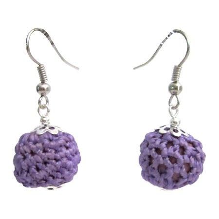 UER577  Cute Crochet Earrings Purple Crochet Bead Earrings