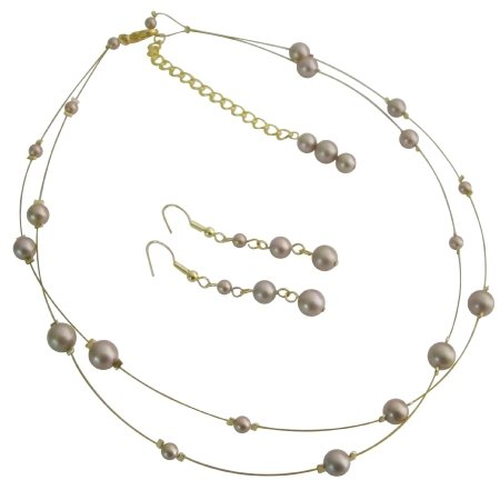 BRD1108  Party Wear Elegant Sophisticate Champagne Pearls Bridal Jewelry Set