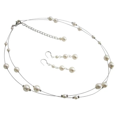 BRD1110  Elegant Most Sleek Wedding Jewelry Set In Ivory Pearls