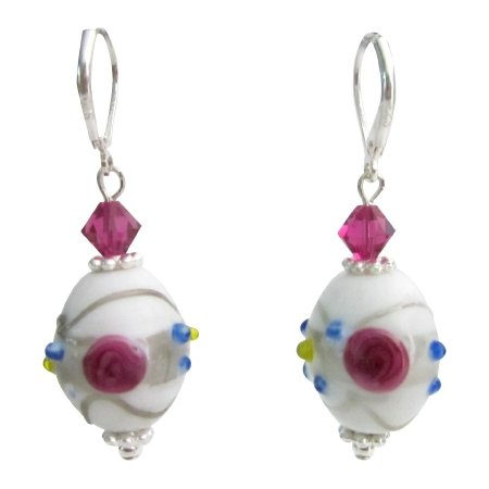 ERC791  Inexpensive White Lampwork Earrings With Fuschia Crystals
