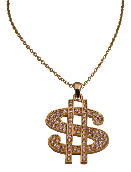 HH127  Gold Dollar Sign Pendant Necklace Bling Bling Pendant w/ Cubic Zircon