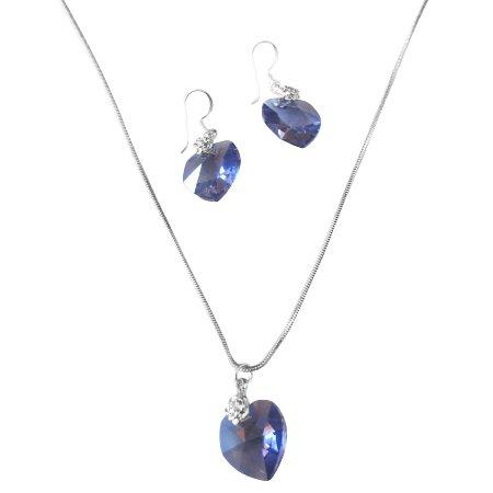NSC520  Heart Jewlery Set Dark Sapphire Crystals 18mm Genuine Swarovski Sapphire Heart