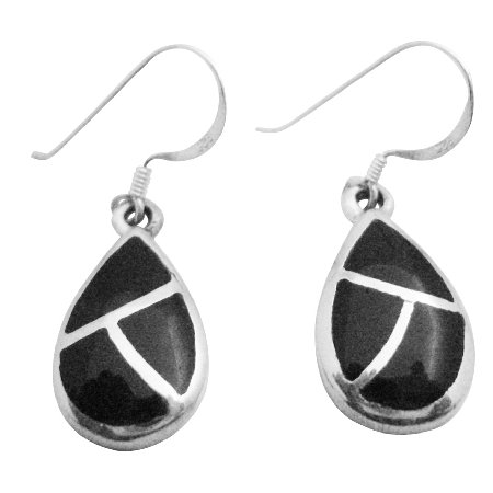 SER082  Jewelry For Gift Sterling Silver Onyx Earrings