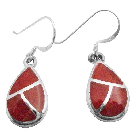 SER086  Coral Earrings With Silver Stripe