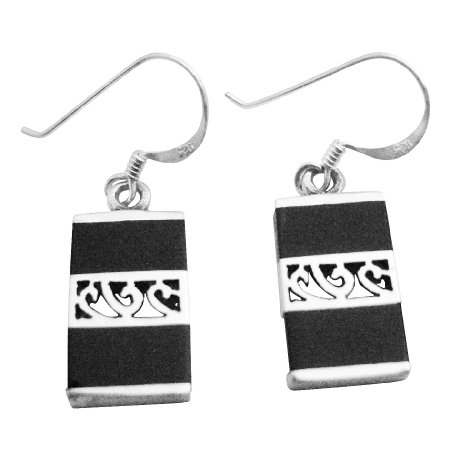SER092  Gift For Wife Genuine Sterling Silver Onyx Inlay Earrings