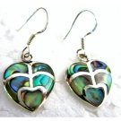 SER095  Cute Valentine Gift Abalone Heart Sterling Silver Earrings