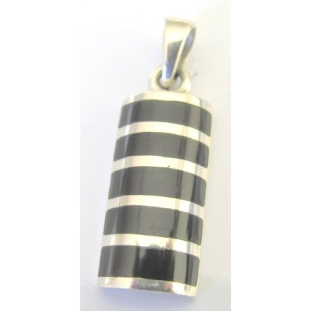 SPEN080  Onyx Sterling Silver Pendant W/ Silver Stripe