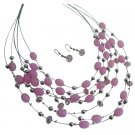 NS1011  Cool Pink Jewelry Set Multi Strand Necklace Pink Beads Cute Earrings Gift