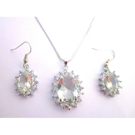 NS1143  Affordable Meaningful Gift Clear Stone Oval Pendant Earrings Set With Gift Box