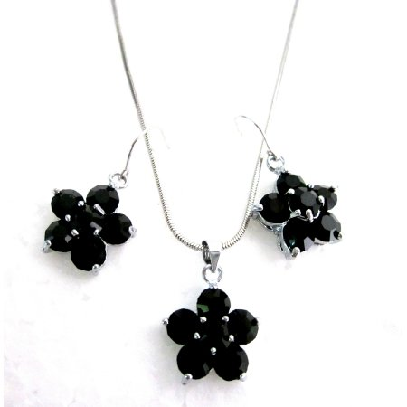 NS1148  Outstanding Jewelry Onyx Crystals Flower Pendant Earrings Girl Friend Gift
