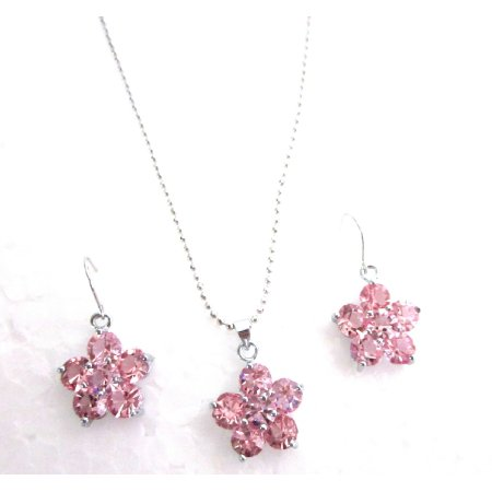 NS1149  Cute Delicate Flower Jewelry Set Rose Crystals Flower Pendant Earrings Set