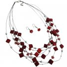 NS1009  Multi Strand Necklace With Red Fancy Silver Beads Necklace Earrings Bridemaids Jewelry