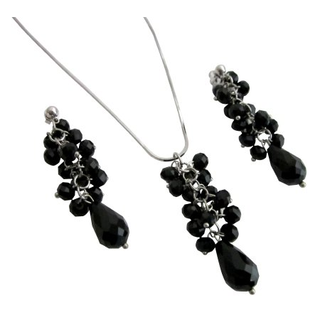 NS1125  Sparkling Jet Glass Beads Cluster Pendant Earrings With Teardrop Necklace Set