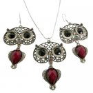 NS1129  Owl Jewelry Nocturnal Bird Glowing Eyes Pendant Earrings Sign Of Wisdom Jewelry