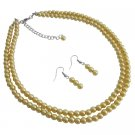 NS1118  Gift For Mother Wife Girl Friend Wedding Favors Yellow Pearls Jewelry Set