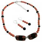 NS1098  Orange Black Combo Jewelry Swarovski Pearls Set With Kashmiri Bead
