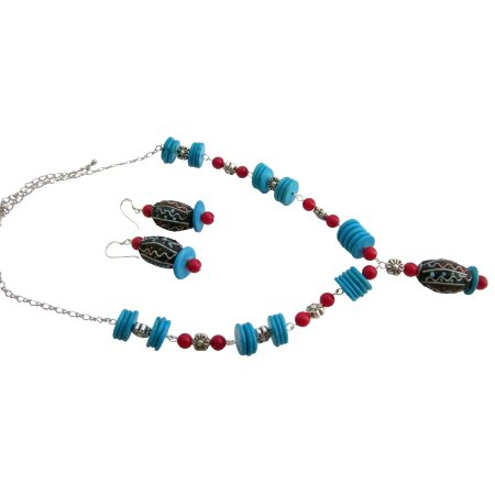 NS1103  Turquoise Rings Coral Handmade Gift Creative Jewelry Set