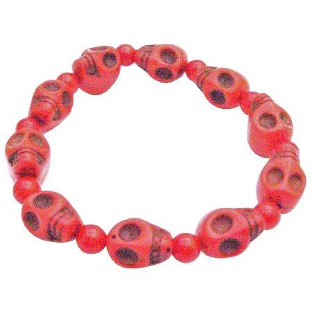 Fashion Coral 10MM Skull Bead Stretchable Bracelet