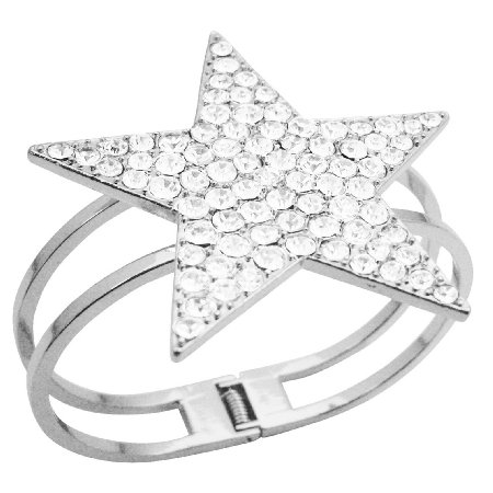 Star Cuff Bracelet Bling Bling Like Diamond Star Cuff Bracelet w/ CZ