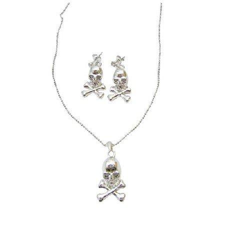 Skull Jewelry Pendant Necklace Halloween Skull Surgical Post Earrings