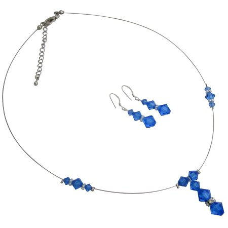 Pretty For Prom Accessories Prom Dress Sapphire Crystals Necklace Set