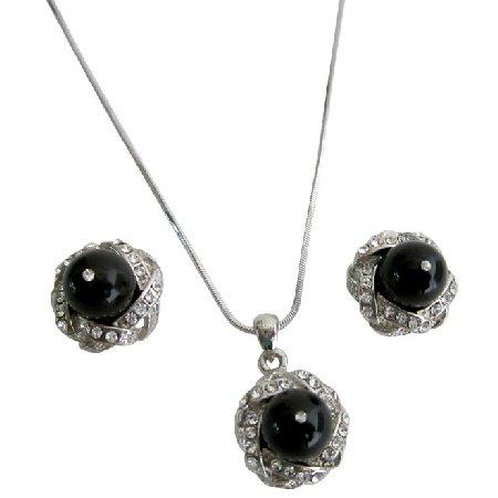 Shop For Swarovski Black Pearls Rhinestones Pendant Earrings Set