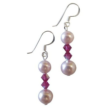 Unextravagant Jewelry Rose Swarovski Rosaline Pearls Fuchsia Crystals