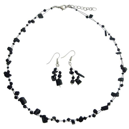 Fresh Design Reasonable Gift In Jet Stones With Crystals Jewelry Set