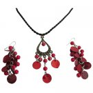 Unique Gifts Just Gorgeous Red Shell Pendant & Earrings Set Affordable Jewelry